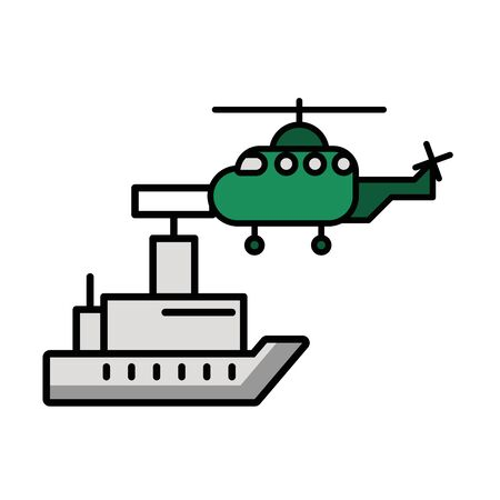 helicopter military force with ship vector illustration design