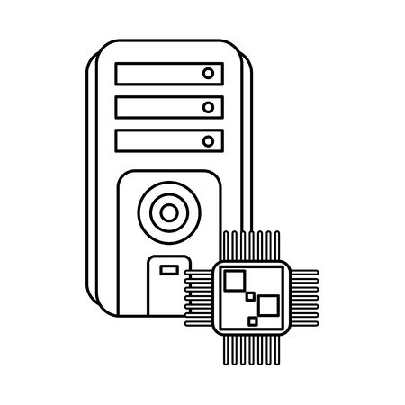 processor chip with server tower devices technology vector illustration design