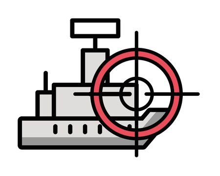 ship military force with target vector illustration design