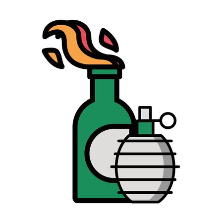 molotov bomb military force isolated icon vector illustration design