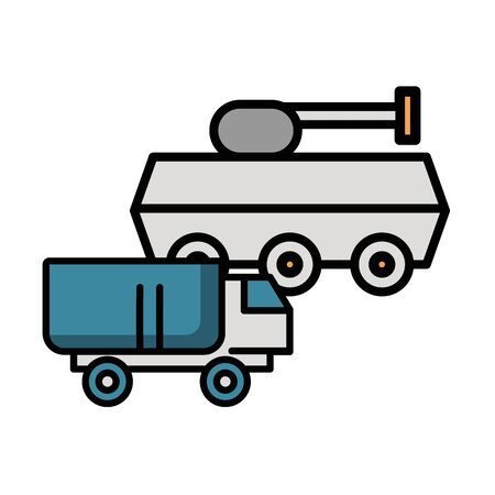 tank military force with truck vector illustration design