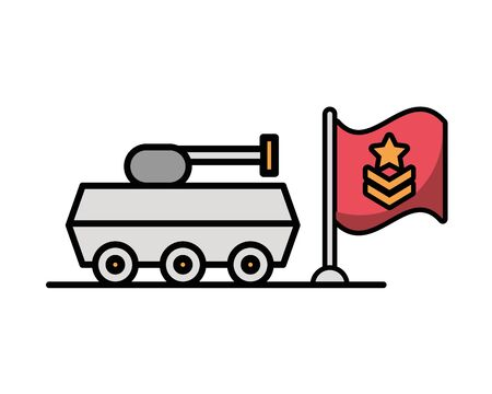 tank military force with flag vector illustration design Vectores
