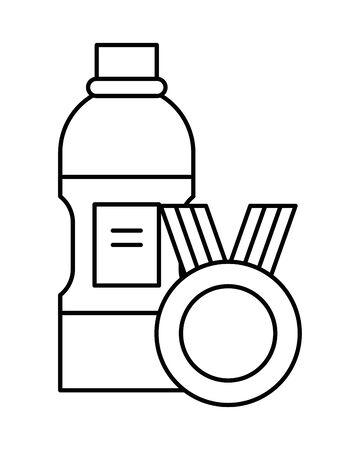 bottle water sport with medal championship vector illustration design Banco de Imagens - 139419478