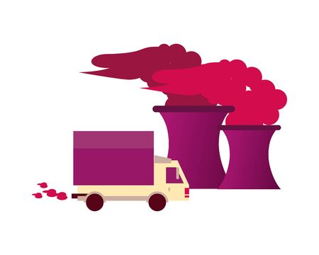 factory with polluting chimneys and truck vector illustration design