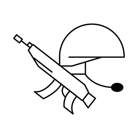 gun military force with helmet vector illustration design