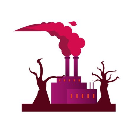 factory with polluting chimneys and forest dry vector illustration design