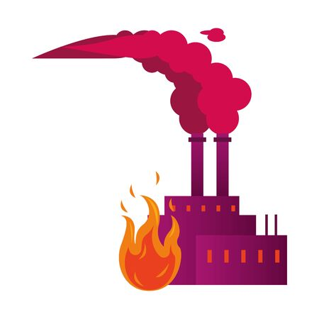 factory with polluting chimneys with fire flame vector illustration design Ilustracje wektorowe