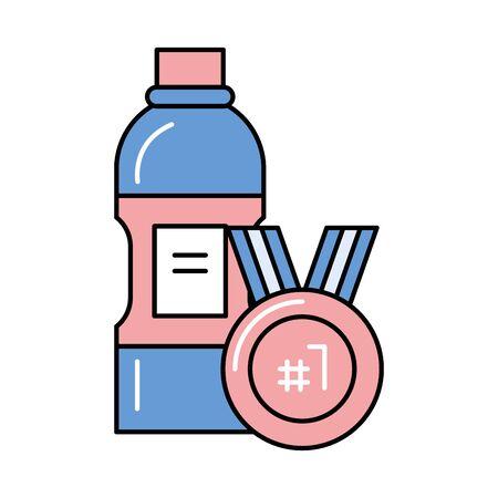 bottle water sport with medal championship vector illustration design