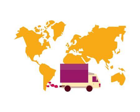 world planet earth maps with truck vector illustration design Иллюстрация