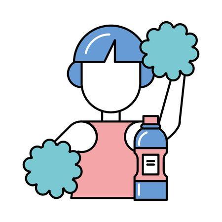 beautiful cheerleader with water bottle vector illustration design Çizim