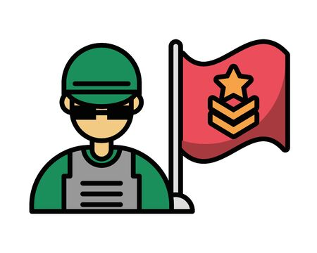 soldier military force with flag vector illustration design Illusztráció