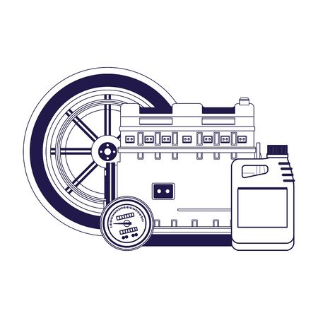 car tire with motor and oil bottle over white background, vector illustration Ilustração