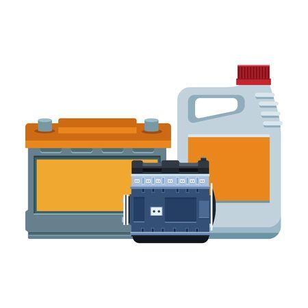 car battery, motor parts and oil bottle over white background, vector illustration Vektoros illusztráció