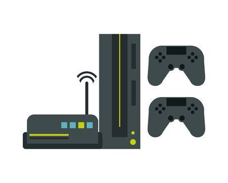 route wifi with video game console devices technology vector illustration design 일러스트