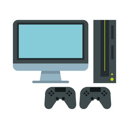 video game console with controls vector illustration design