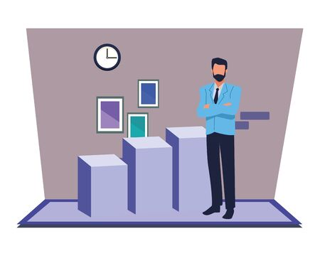 Executive businessman with profit statistics bars inside office building with clock and pictures vector illustration graphic design.