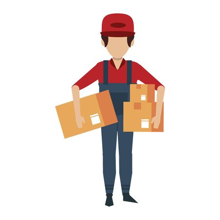 Warehouse worker holding delivery boxes avatar faceless vector illustration