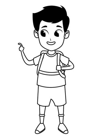 adorable cute young student happy boy wearing backpack cartoon vector illustration graphic design