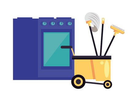 housekeeping cart with tools cleaning and oven vector illustration design