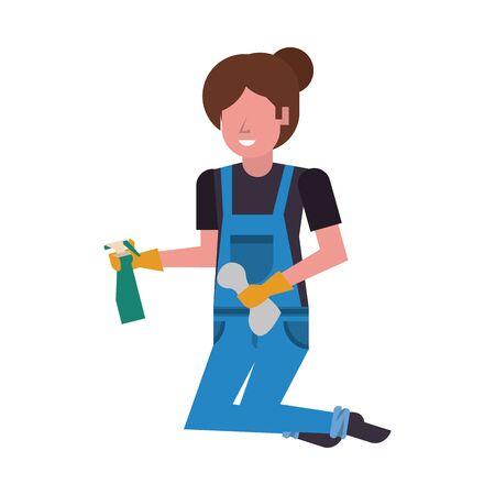 housekepping woman worker with splash bottle vector illustration design Vectores