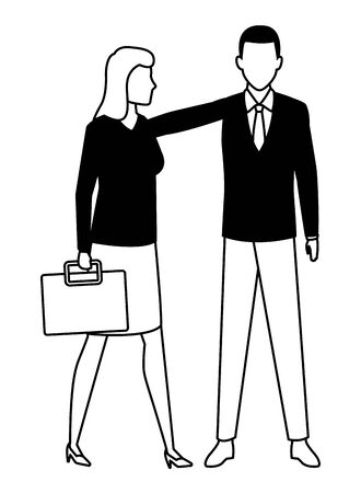 business business people businesswoman carrying a briefcase avatar cartoon character in black and white