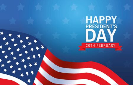 happy presidents day poster with usa flag vector illustration design Ilustrace