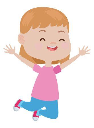 Beautiful girl jumping, smiling and having fun vector illustration graphic design.
