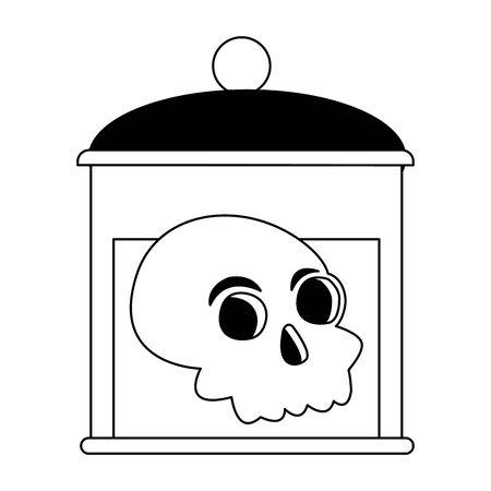 halloween head skull in bottle vector illustration design