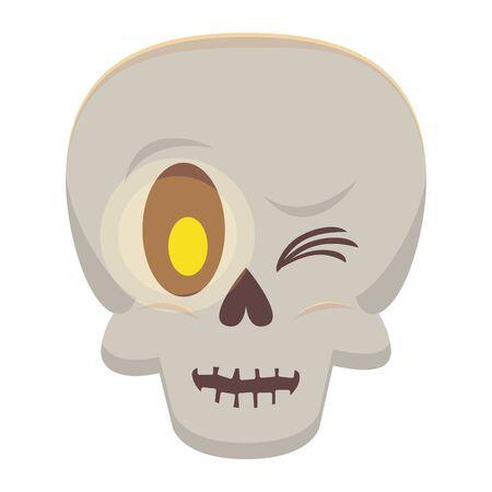 halloween skull head isolated icon vector illustration design