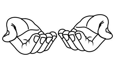 Hands with palms open offering cartoon isolated vector illustration graphic design