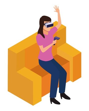 virtual reality technology, young woman living a modern digital experience with headset glassesand joystick cartoon vector illustration graphic design