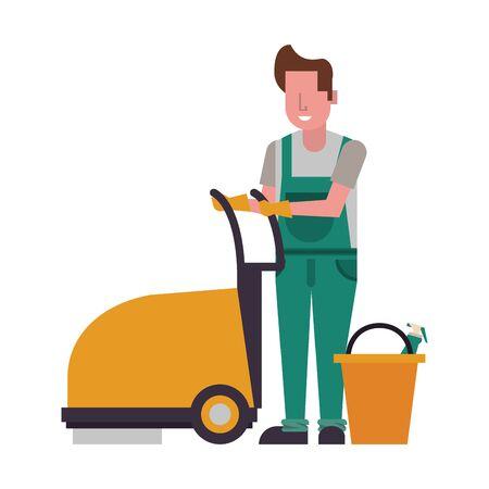 housekeeping male worker with Floor shining machine vector illustration design Stock Illustratie