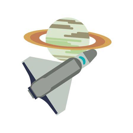 Spaceship flying around saturn planet cartoon isolated vector illustration graphic design Standard-Bild - 139568688