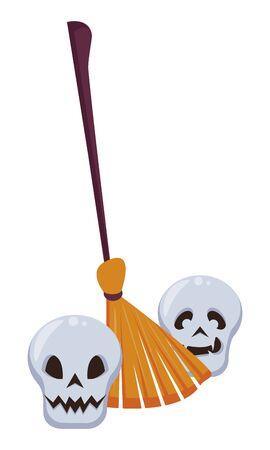 halloween skulls heads with broom vector illustration design