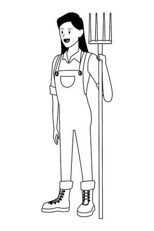 mujer de granja, animales y granjero con mono, botas y sosteniendo un personaje de dibujos animados de avatar de rastrillo en diseño gráfico de ilustración vectorial en blanco y negro