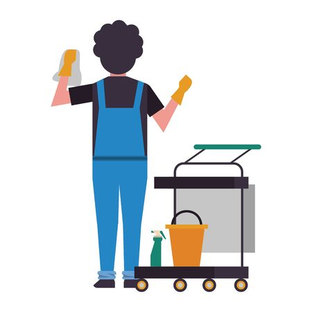 housekeeping male worker with rubber gloves cleaning vector illustration design Stock Illustratie