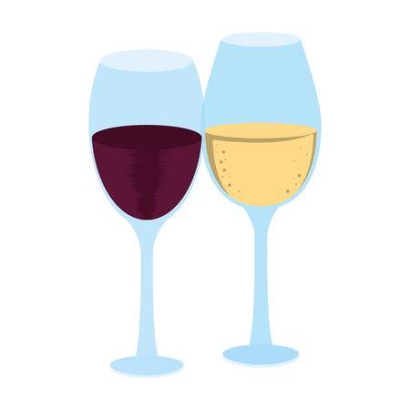 wine glasses icon over white background, vector illustration