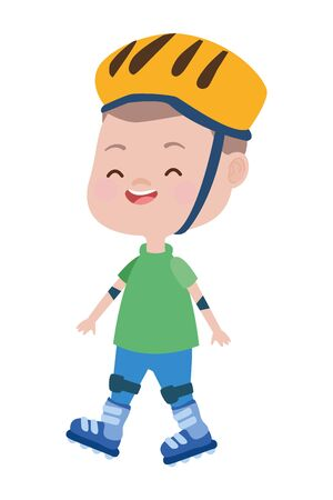 cute little boy with roller skates character vector illustration design