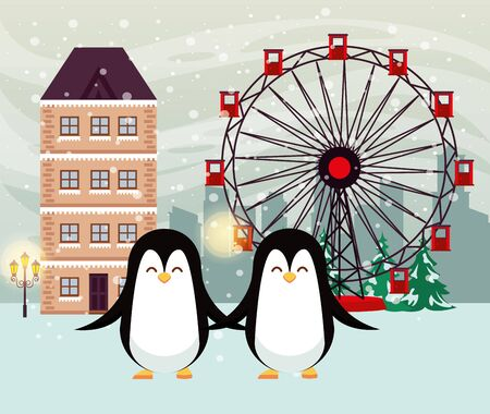 christmas snowscape scene with cute penguins vector illustration design