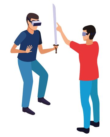 virtual reality technology, young men friends living a modern digital experience with headset glassesand sword cartoon vector illustration graphic design