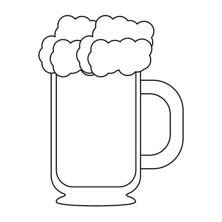 beer glass fresh alcoholic drink cartoon vector illustration graphic design Ilustração