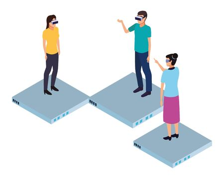 virtual reality technology, friends living a modern digital experience with headset glassestouching air cartoon vector illustration graphic design