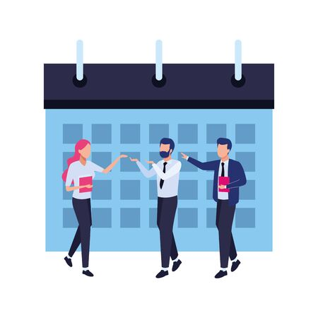 calendar schedule flip chart and a group of business people with documents folders icon cartoon Standard-Bild - 139597156