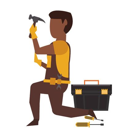 Contruction worker using hammer and toolbox vector illustration graphic design