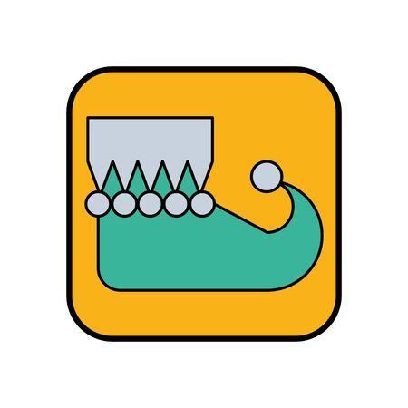 christmas elf shoe boot icon vector illustration design Ilustração