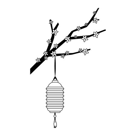 blossom tree branch with chinese lantern icon over white background, vector illustration