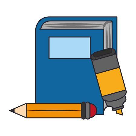 Academic book with highlighter pen and pencil over white background, colorful design. vector illustration Vektoros illusztráció