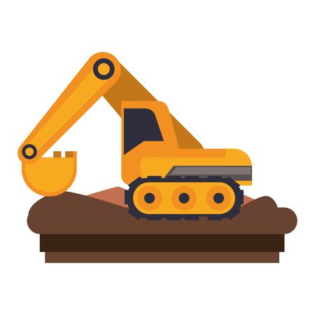 Construction backhoe vehicle machinery isolated side view on ground vector illustration graphic design