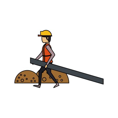 construction architectural engineering, worker making heavy work with protection safety equipment in under construction site cartoon vector illustration graphic design