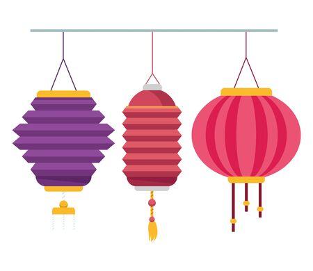 Chinese paper lantern hanging lights ,vector illustration graphic design. Ilustração